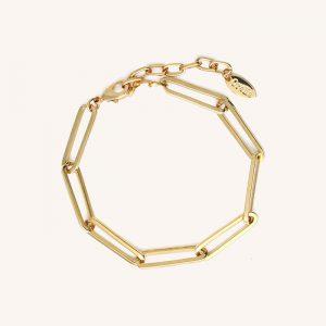 Long Link Mixed Chain Bracelet Gold