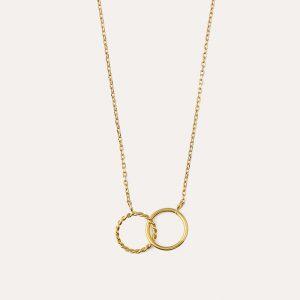 Rope Interlocking Mini Ring Necklace Gold