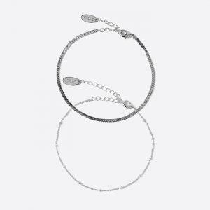 Satellite & Flat Curb Chain Bracelet Silver