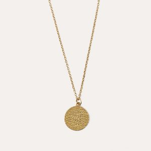 Animal Texture Disc Necklace Gold