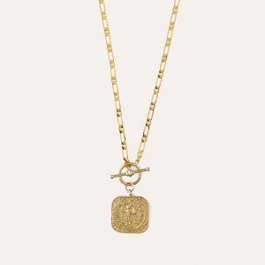 Square Coin T-Bar Necklace Gold