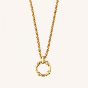 Chunky Bamboo Circle Necklace Gold