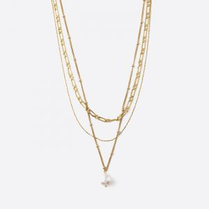 Pearl Chain 3 Row Necklace Gold