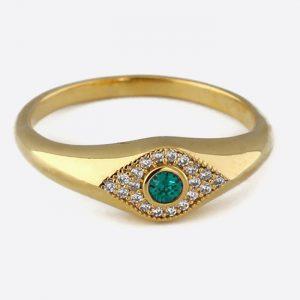Pave Evil Eye Ring Emerald
