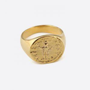 Roman Coin Signet Ring Gold