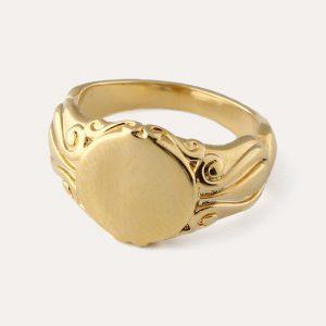Vintage Detail Signet Ring Gold