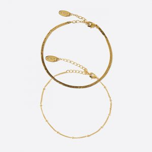 Satellite & Flat Curb Chain Bracelet Gold