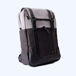 Rectangular Black/Mottled Grey Backpack